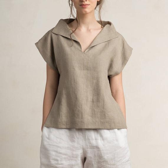 Linen blouse women, Linen women's clothing, Short sleeve linen shirt women, Linen womens tops, Flax grey linen clothes, Linen clothing women