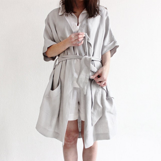 Linen robe Natural women\'s robe with pockets Soft linen   Etsy