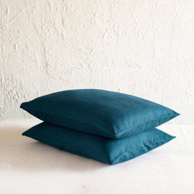 Teal linen pillowcase Linen pillowcases with envelope image 0