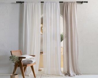 Sheer window curtains, Lightweight linen curtain panel with rod pocket, Natural linen window treatments
