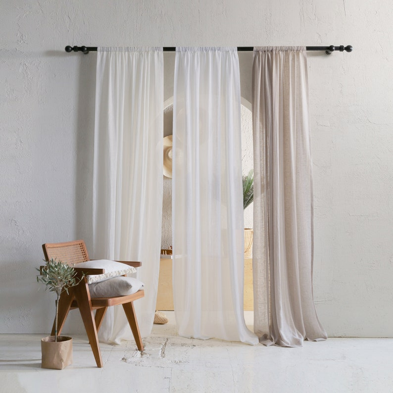Sheer window curtains Lightweight linen curtain panel with image 0