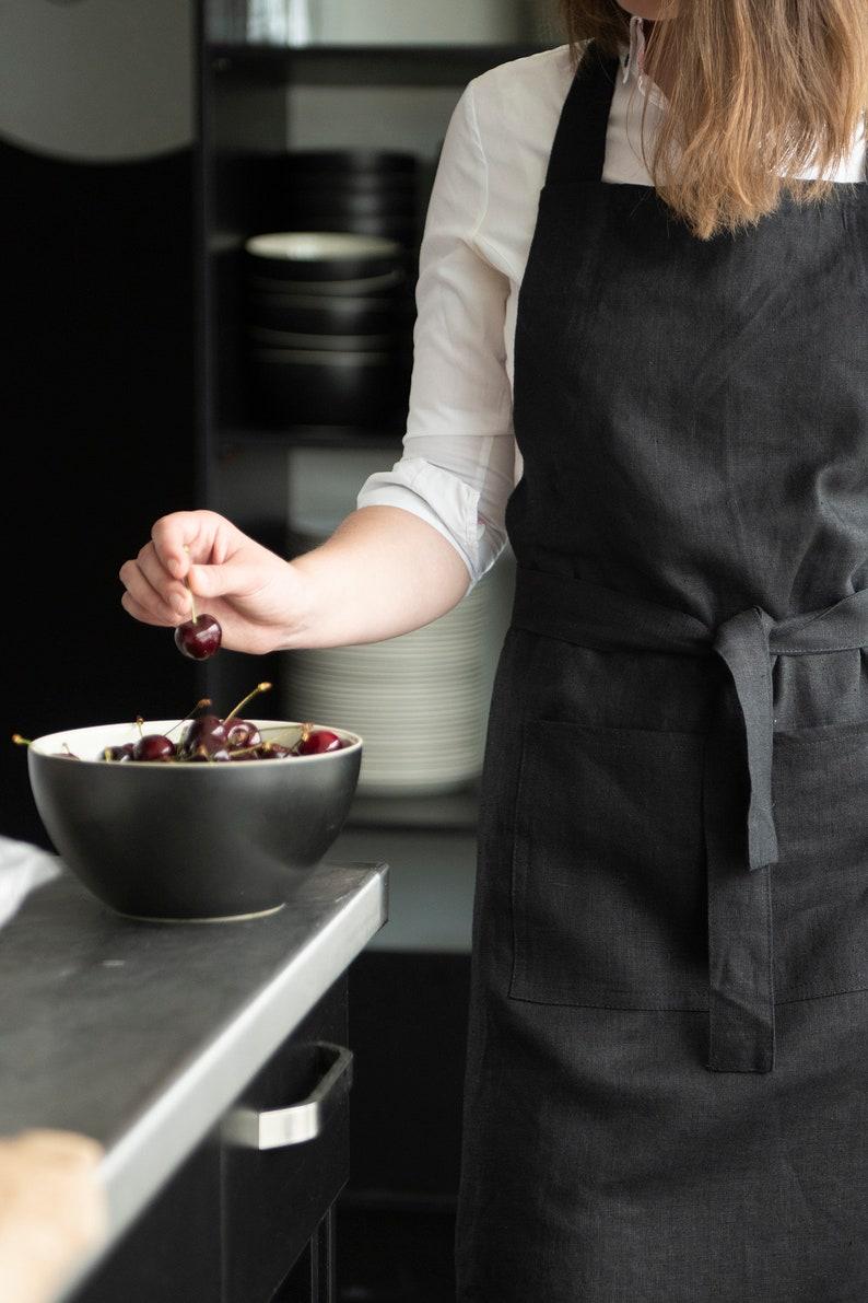 Chef apron Linen aprons for women Kitchen apron Full linen apron Full apron Linen aprons with pockets 22 colors Women/'s aprons