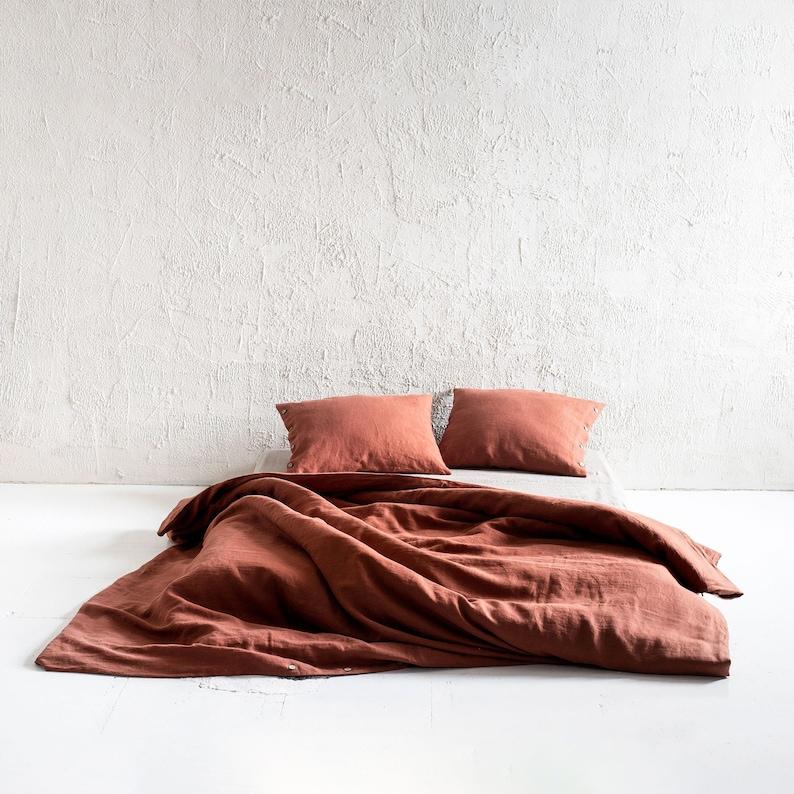 Burnt Orange linen duvet cover Burnt orange linen bedding image 0