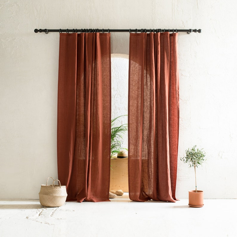 Natural linen curtains Blackout curtains Window curtain image 0