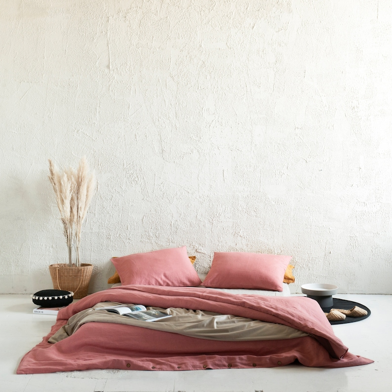 Rust pink linen duvet cover Natural pink linen bedding image 0