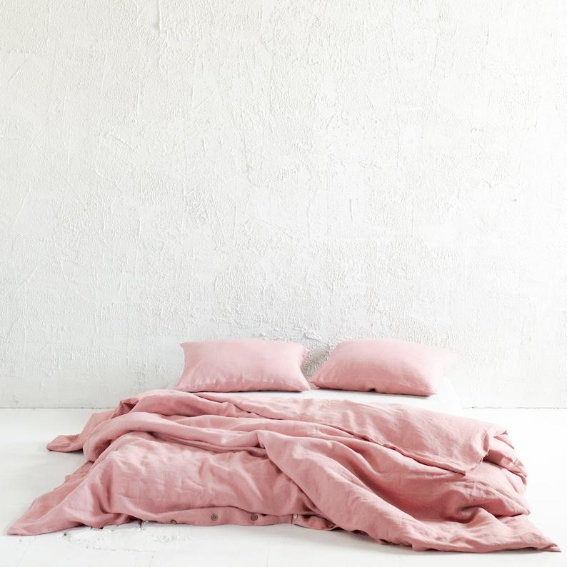 Dusty rose linen duvet cover Muted light Pink linen bedding image 0