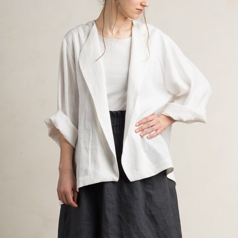 0f0f0e29b70b1 White linen jacket woman 15 colors Linen blazer women Linen