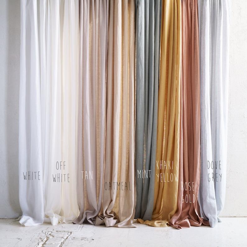 Linen window curtains 8 colors Sheer linen curtain panels image 0