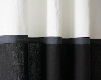 Linen curtains Color block curtains Black and white curtains Blackout curtains Lined curtain panel Custom linen curtains Linen window drapes