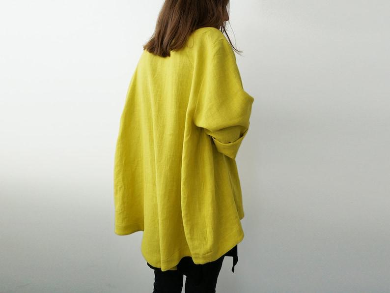 Jacket for women Chartreuse jacket women Linen cardigan image 0