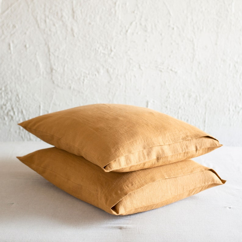 Yellow Ochre linen pillowcase Linen pillowcases with envelope image 0