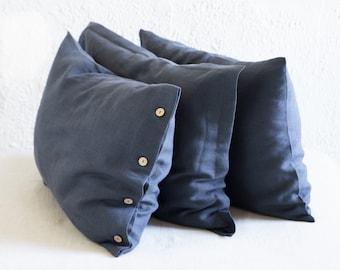 Natural linen pillowcases, Charcoal linen pillowcase with coconut buttons or Oxford style linen shams, Handmade linen bedding