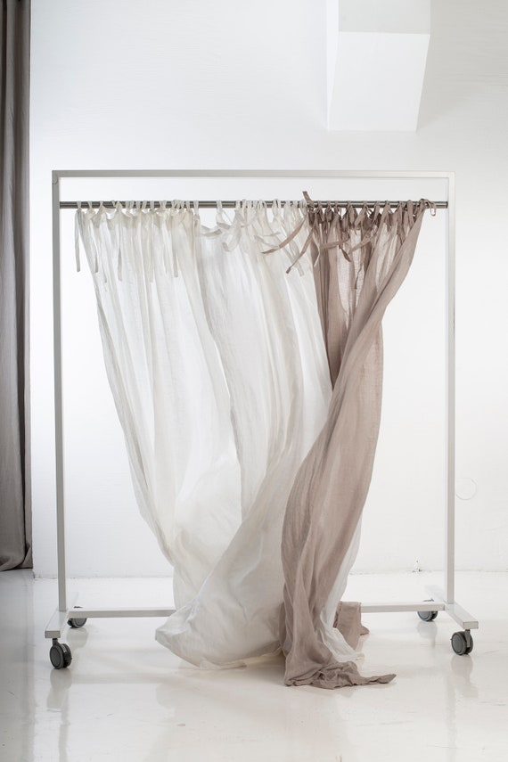 Sheer Curtains With Ties Off White Linen Drapes Tie Top Etsy
