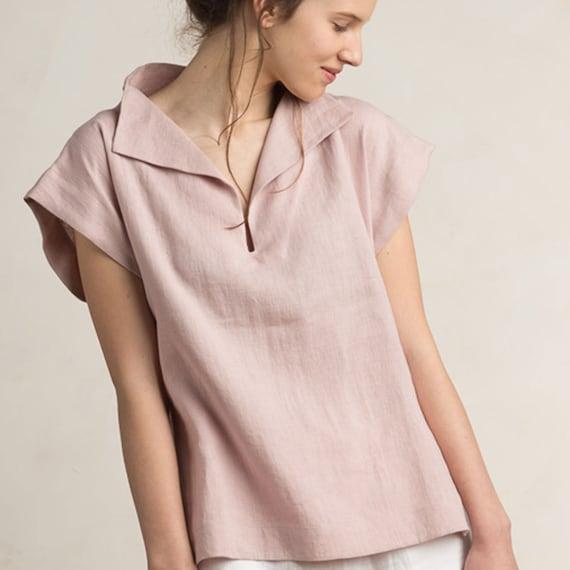 Dusty rose linen blouse, Linen women's clothing, Short sleeve linen shirt, Linen womens tops, Varm neutral light pink linen clothes by LHI