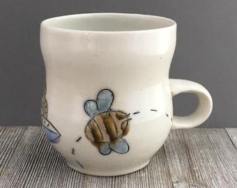 Mug with Bee and Flower - Bee Cup - Coffee - Tea - Pollinators - Beekeeper (201)