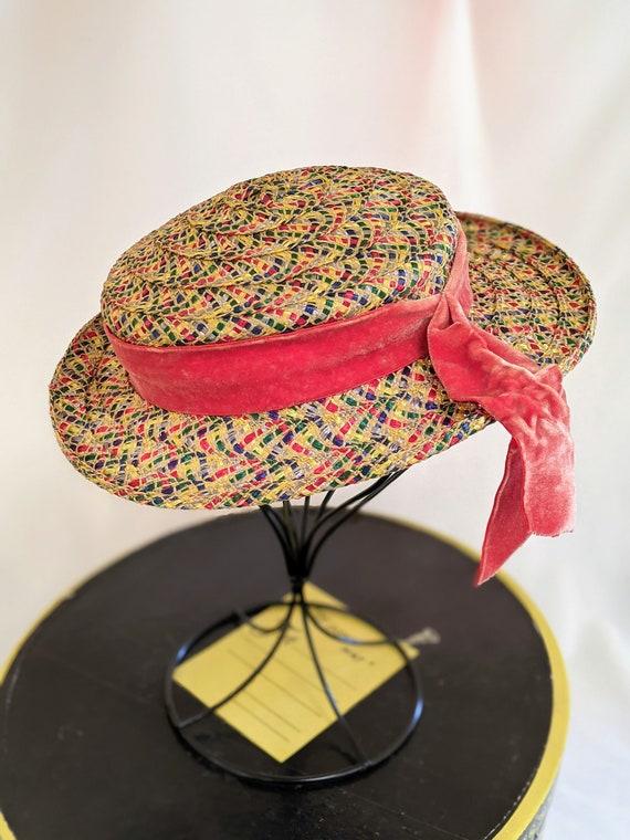 Vintage wide brim colorful boater straw hat - image 2