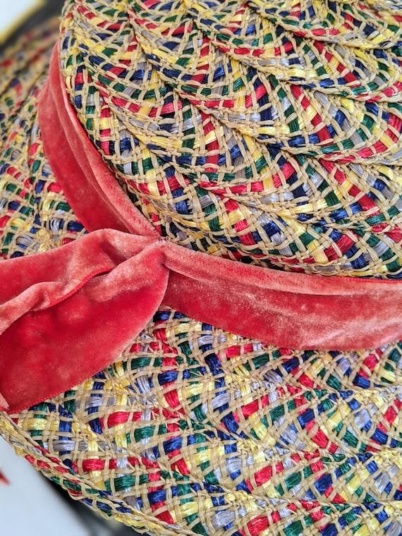 Vintage wide brim colorful boater straw hat - image 3