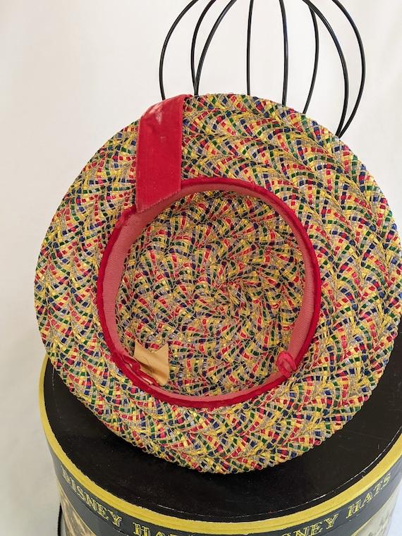 Vintage wide brim colorful boater straw hat - image 4