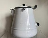 Vintage Large Enamel Coffee Pot Pitcher with Lid