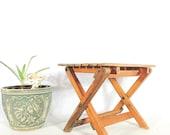 Vintage Stool Collapsible Wood Slat Plant Stand Rustic Farmhouse Decor