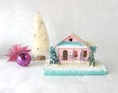 Vintage Japan Putz Style Christmas Village House Cardboard Light Ornament Turquoise