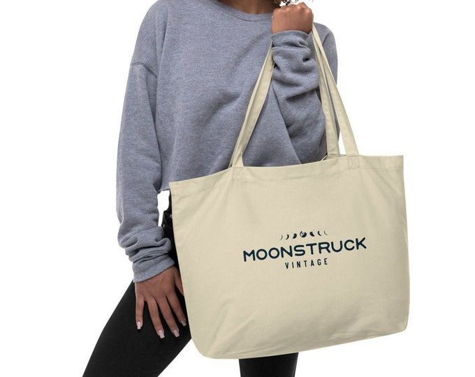 Large organic 100% cotton tote bag, grocery bag or beach bag, Moonstruck Vintage, Cleveland OH