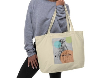 """Large organic tote bag """"Pretty girls vote."""", 50s novelty print, reusable grocery bag"""