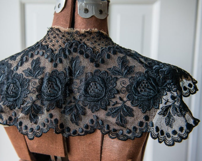 Vintage embroidered black lace mourning collar with flower and polka dot motif | decorative Victorian Edwardian collar
