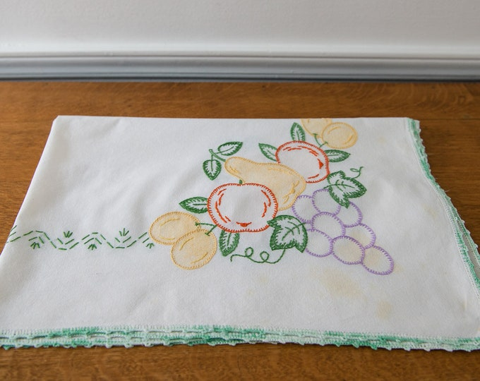 Vintage small square tablecloth with embroidered fruit motif