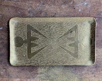 Vintage signed Taller Guayasamin brass dresser tray or trinket tray with twin women motif | Oswaldo Guayasamin | collectible brass metalware