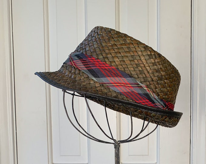 Vintage 1950s brown woven fedora hat with plaid band | men's summer fedora | Size M