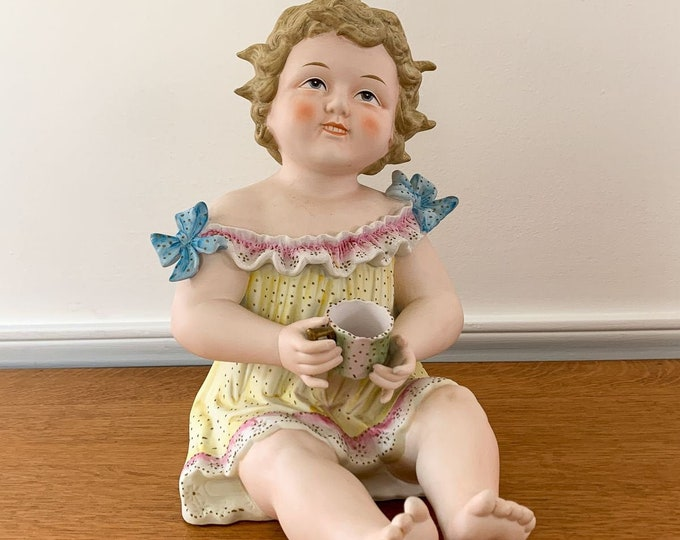 Large antique Bisque Piano Baby Conta Boehme Seated Child Holding Cup 6111x, Victorian figurine
