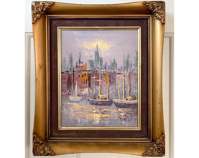 Vintage 50s 60s mid-century sailboats in city harbor oil painting in metallic gold frame, MCM wall decor