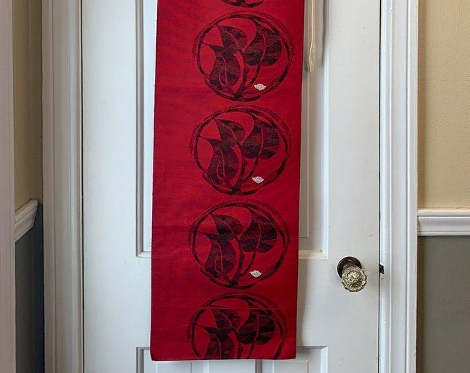 Vintage red and black MODIFIED Japanese obi sash fabric with leaf print, authentic kimono sash, Japanese textile