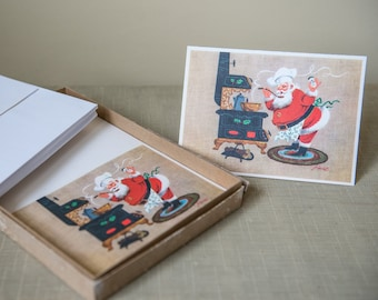 Vintage 1950s box of 25 Santa chef holiday Christmas greeting cards and envelopes made by White Christmas Originals and designed by Pineo