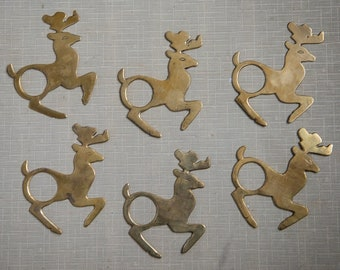 Set of 6 vintage solid brass reindeer napkin rings | MCM holiday table decor | made in India