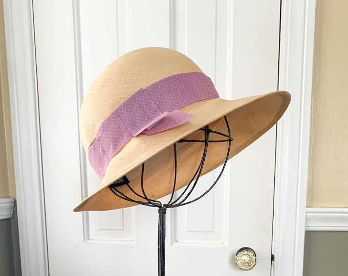 Vintage 1980s straw hat with purple ribbon | vintage garden hat | vintage beach hat | Executive Woman | Size S