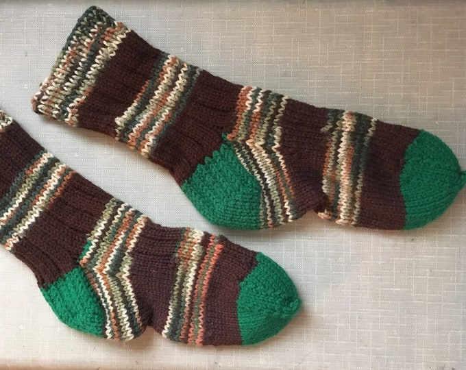 Hand-knitted big, thick, comfy socks in brown, hunter green and variegated stripes | size L