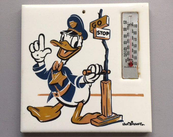 Vintage Donald Duck Walt Disney Designed Thermo Plaque Item No. 1831 | collectible memorabilia thermometer