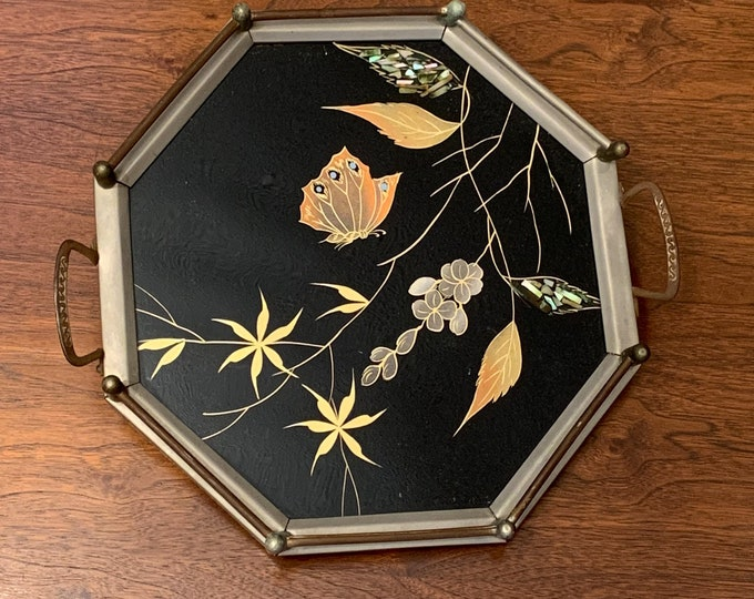 Vintage decorative octagonal inlaid tray with butterfly motif | black dresser tray | ornate barware tray