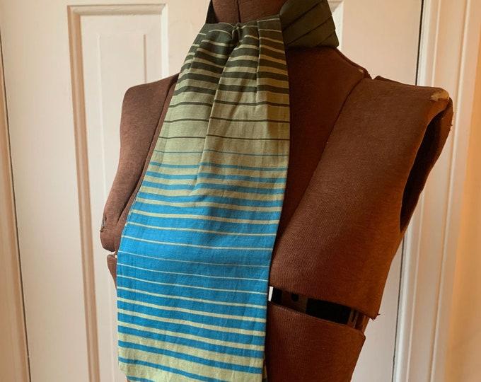 Vintage cotton green and blue striped cravat neckerchief ascot