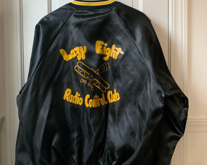 Vintage 70s 80s Hartwell black satin club jacket XL