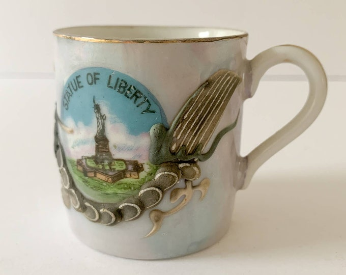 Vintage Statue of Liberty and applied dragon demitasse cup