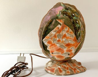 Vintage 50s 60s abalone shell sailboat tabletop lamp or TV lamp, beach decor