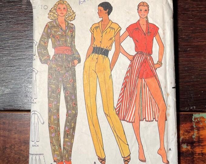 Vintage 1970s Quick! Butterick pattern 6582, Misses jumpsuit & skirt pattern, Size 10