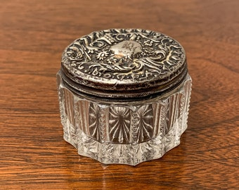 Antique glass powder or rouge jar with sterling lid, dresser jar with silver top, Victorian cosmetic jar