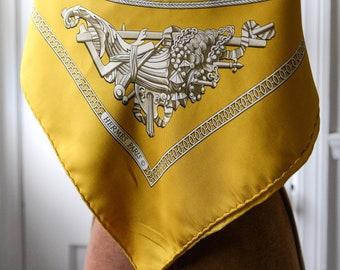 """Vintage HERMÈS PARIS golden yellow silk scarf Sésame designed by Philippe LeDoux 34"""" x 35"""""""