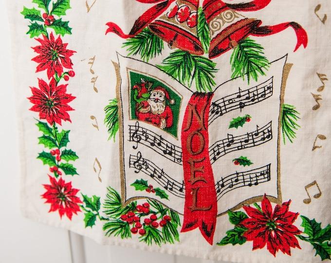 Vintage Christmas linen kitchen towel or tea towel, music themed musical notes Noel