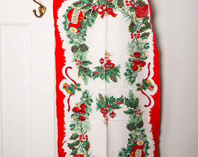 Vintage Christmas cotton extra long kitchen towel or table runner, bells and holly theme