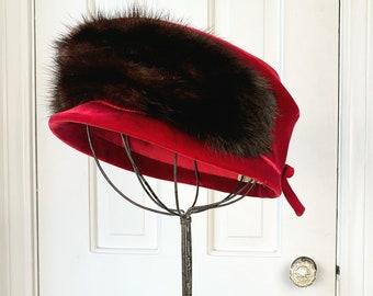 Vintage 1960s cranberry red velvet and fur hat   fur pillbox hat   stylish fur and velvet hat   60s fashion hat   Size M